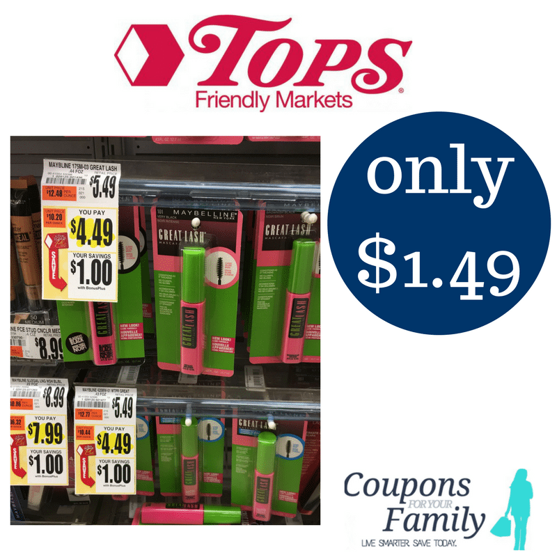 Tops Coupon Deal Maybelline New York Mascara only $1.49~~ print coupon now!