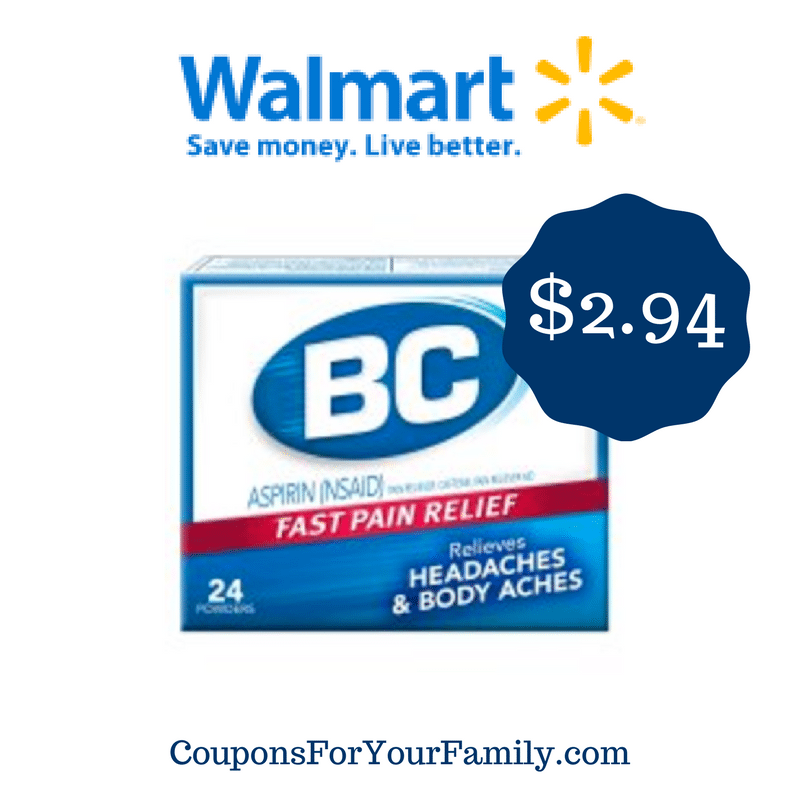 BC Headache Powder only $2.94 at Walmart after rare coupon!