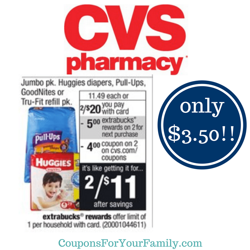 LAST DAY !!! CVS Coupon Deal Huggies Diapers, Pull Ups or Goodnites Jumbo Pack only $3.50!!!