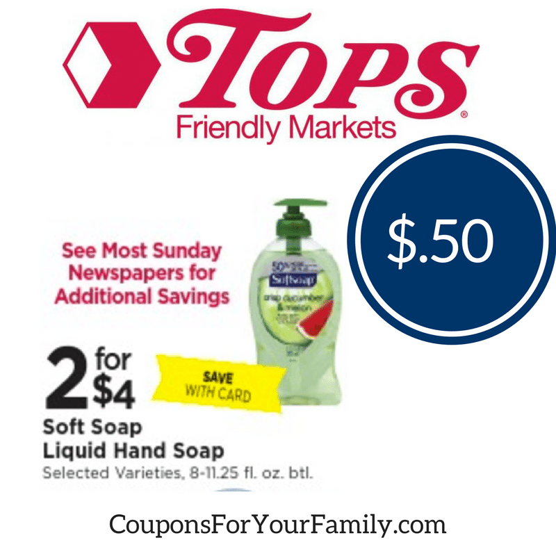 Tops Coupon Deal Soft Soap only $.50 with RARE printable coupon- print now!!