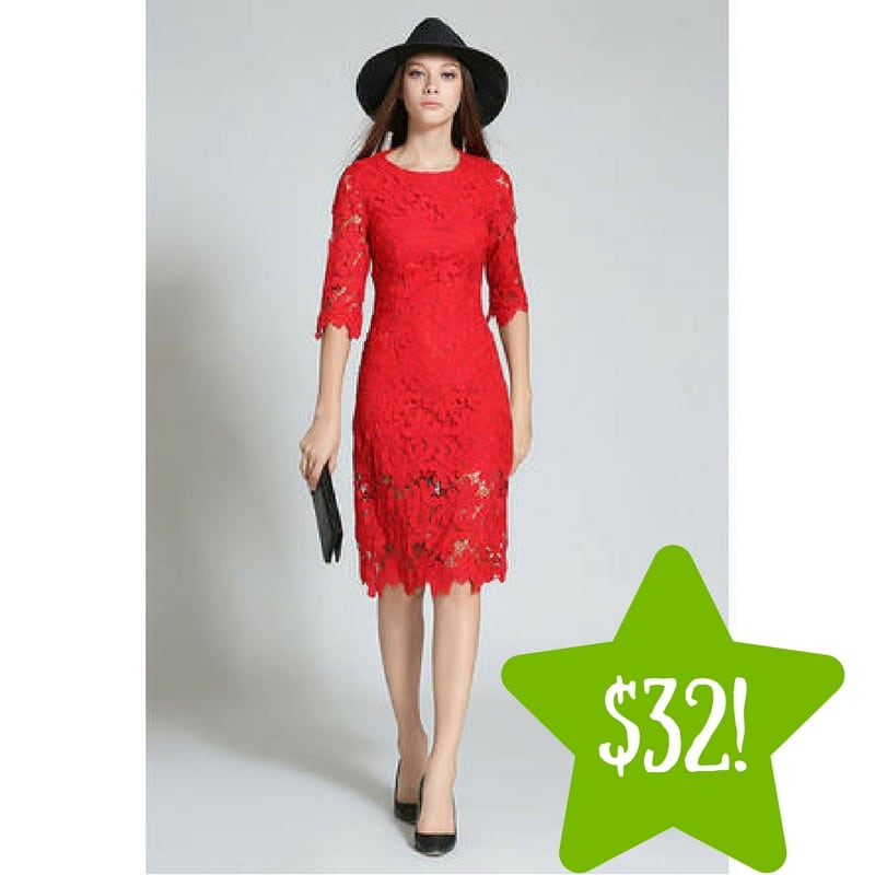Sears: TOMCARRY Women Hollow Slim Style Red Dress Only $32 (Reg. $100, Today Only)