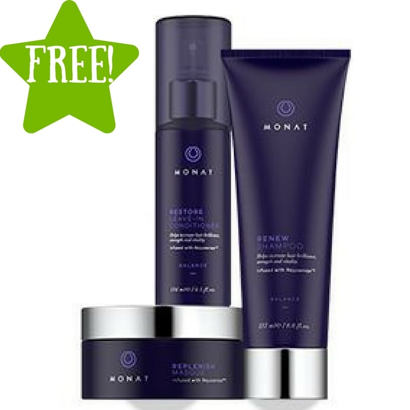 FREE MONAT's RENEW Shampoo and RESTORE Leave-In Conditioner Samples