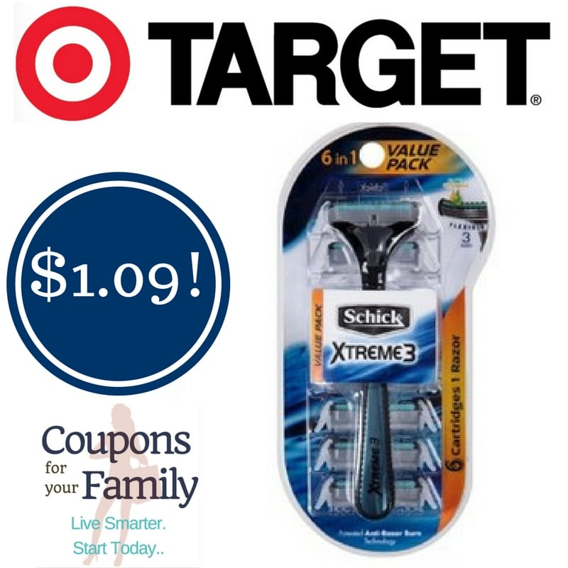 Target: Schick Xtreme 3 6-in-1 Value Pack Razors Only $1.09