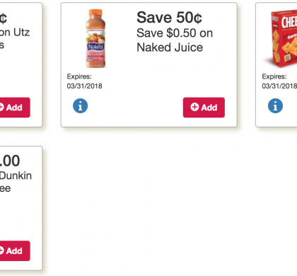 This weeks Online Tops Monopoly Coupons are live: Cheez It, Dunkin Coffee, Utz, Naked Juice