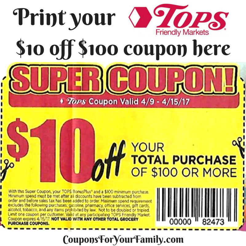 A Look into the Tops Markets Coupon Policy. Below you will find Tops Markets Coupon Policy. You will also find my explanation of certain parts highlighted in this color. Click Here to see the Tops Markets Coupon Policy on their site. As with all store coupon policies, I suggest you print them out and keep a copy with you while shopping.