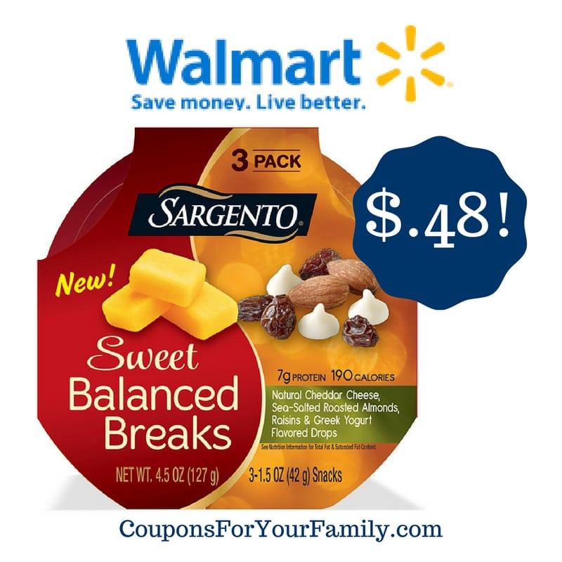 Walmart: Sargento Sweet Balanced Breaks Snacks Only $0.48