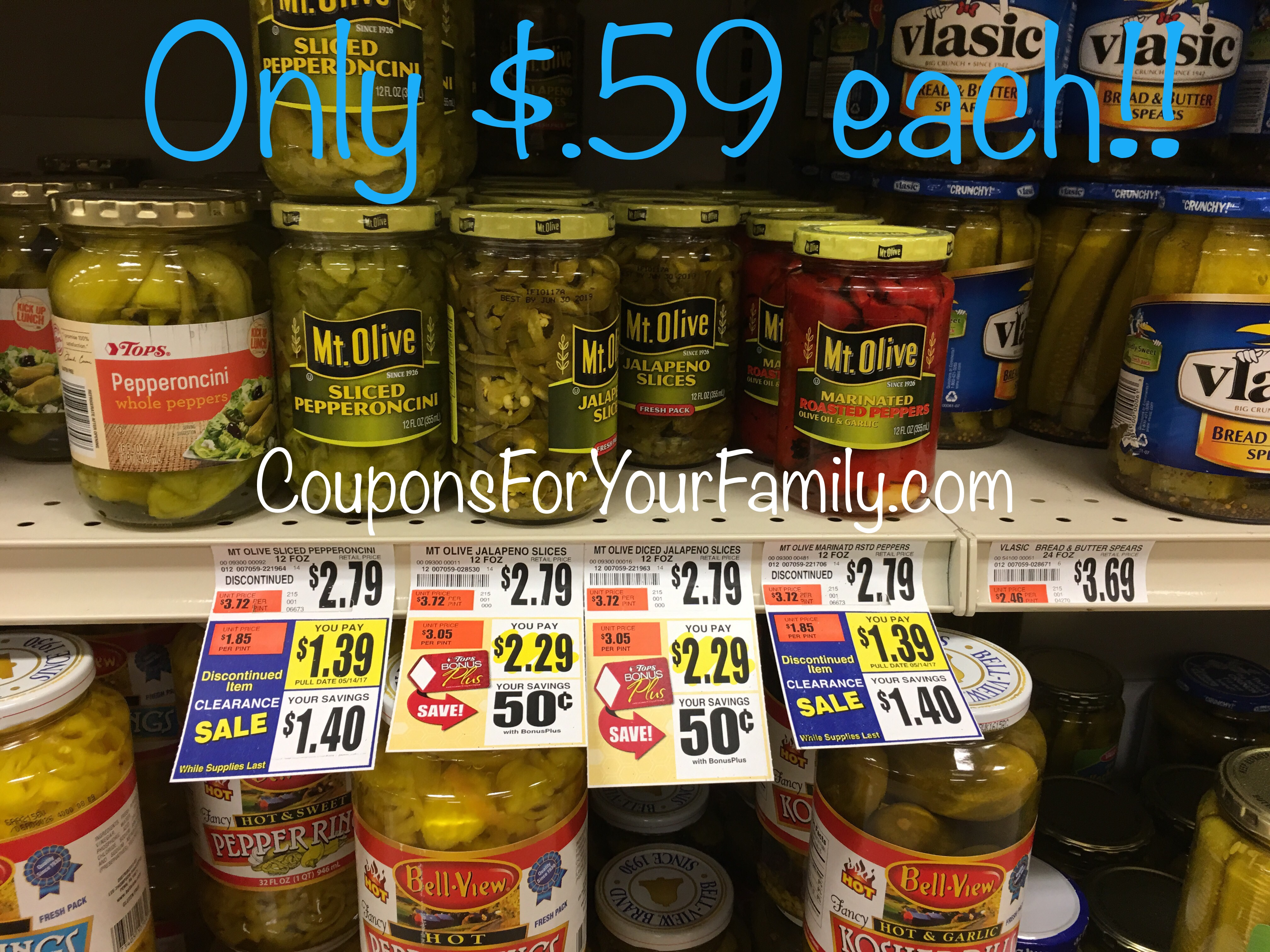 *HOT* Tops Mt. Olive Pepperoncini & Roasted Pepper Deal with coupon~~only $.59 each!