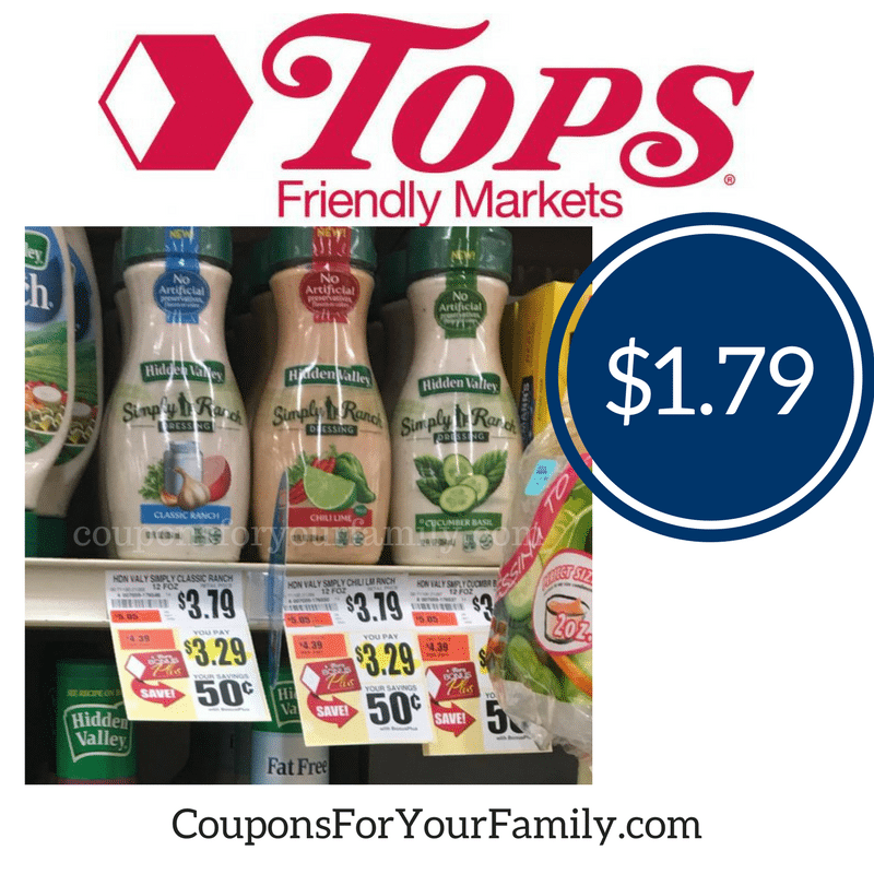 Hidden Valley Simply Ranch Dressing only $1.79 at Tops!