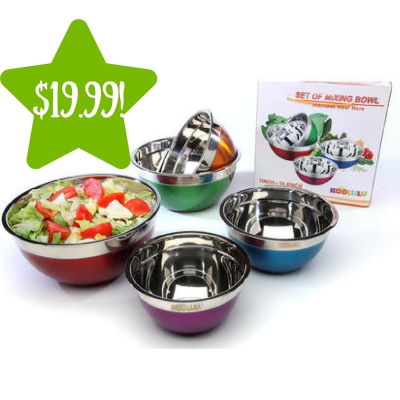 Sears: Alphabetdeal 5 Piece Stainless Steel Mixing Bowl Set Only $19.99 (Reg. $50, Today Only)