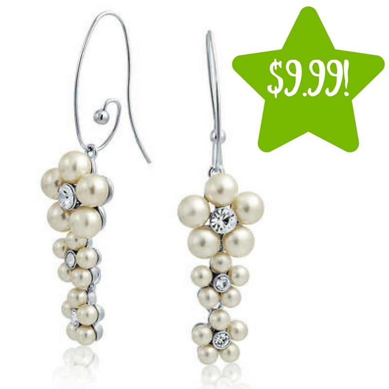 Sears: Simulated Pearl Rhinestone Flower Dangle Earrings Only $9.99 (Reg. $28, Today Only)