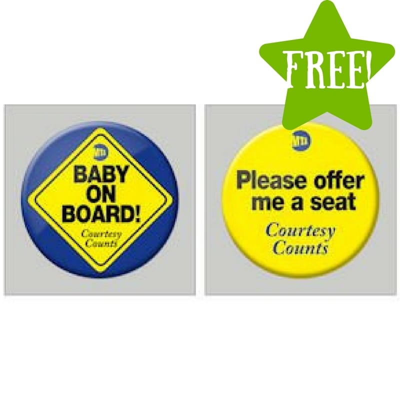 FREE Baby on Board or Please Offer Me a Seat Buttons |