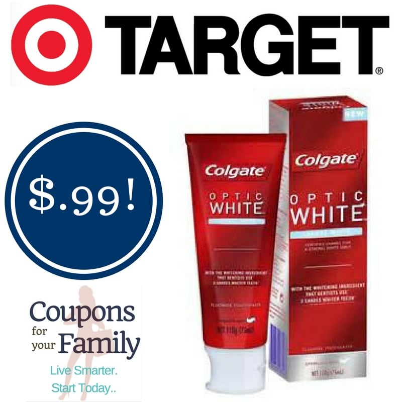 Target: Colgate Optic White Toothpaste Only $0.99