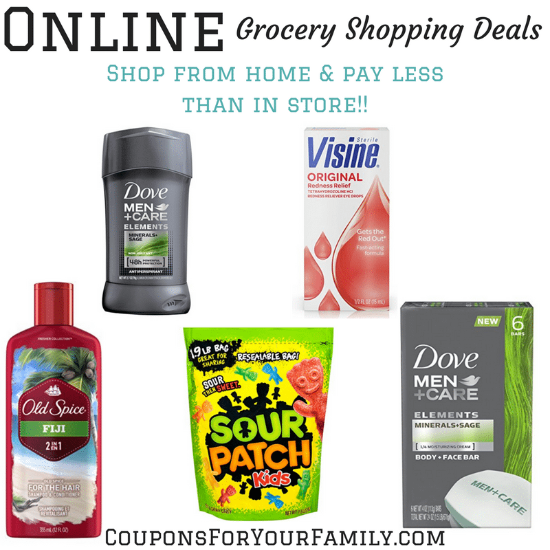 Online Grocery Shopping Deals 5/17: Dove Men Care, Visine, Sour Patch, Old Spice Shampoo