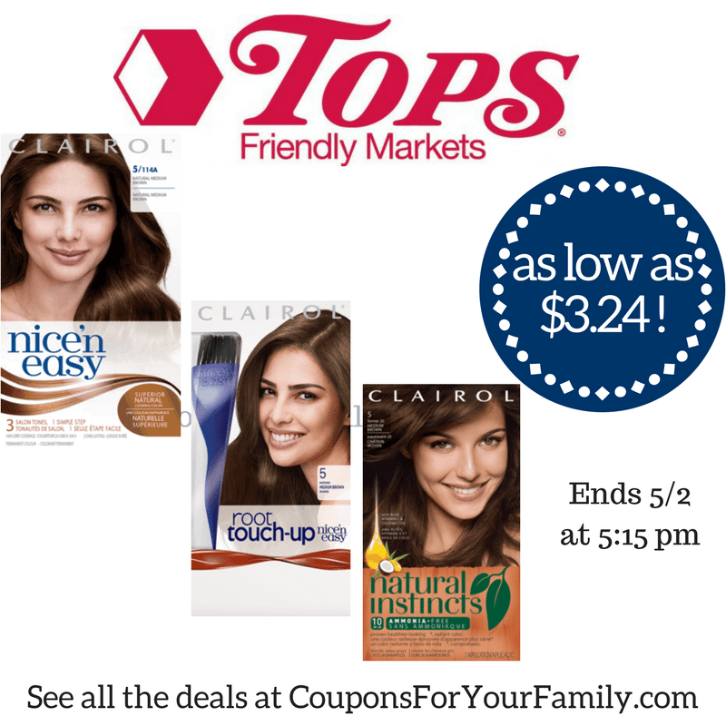 Tops Deal Clairol Hair Color only $3.24 each!    Hurry..combo deal ends Tuesday 5/2!!!!