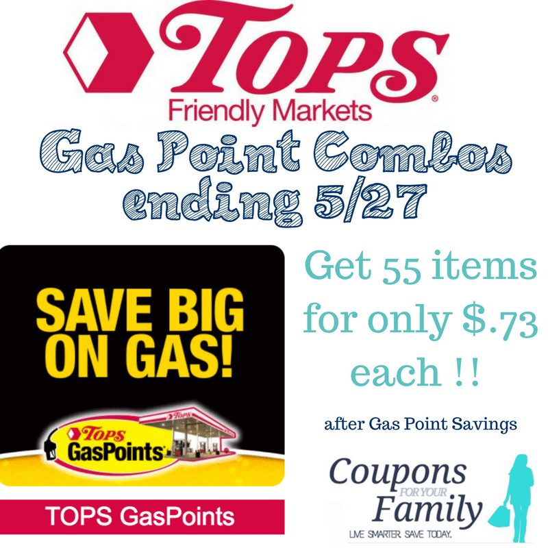 Tops Gas Points Combo Deals this week: Get 55 items for only $.77 each !!