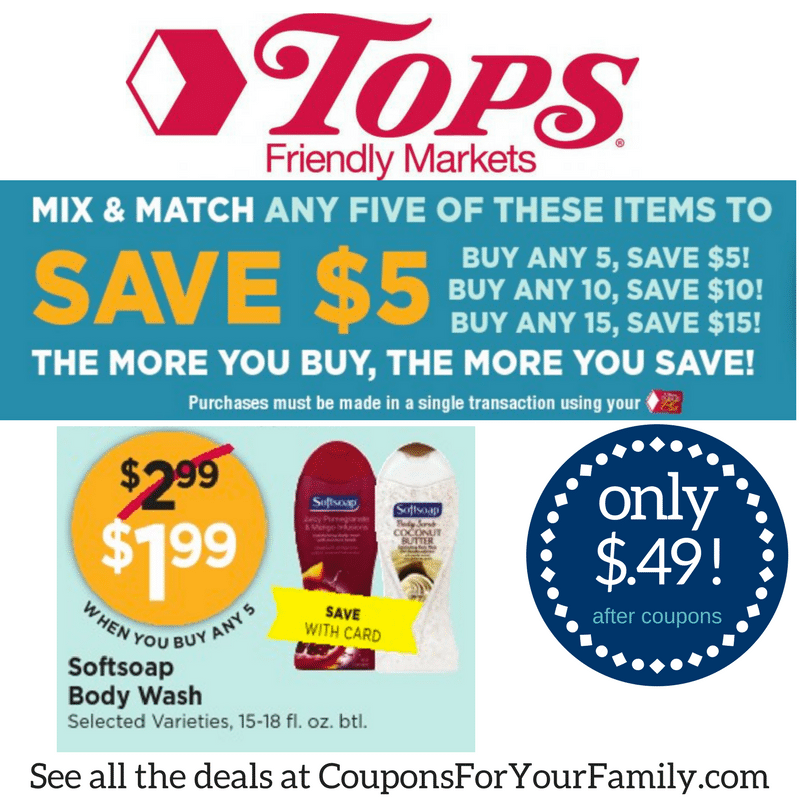Tops Markets Deal Softsoap Bodywash coupon