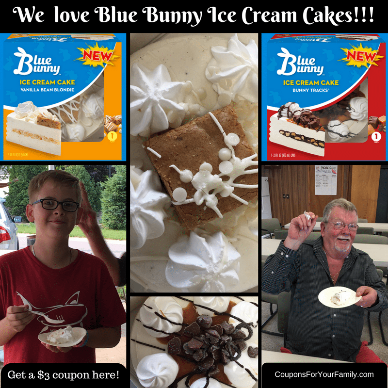 Blue Bunny Ice Cream Cakes only $5.97!! Get a $3/1 coupon here & a peek at us enjoying them!