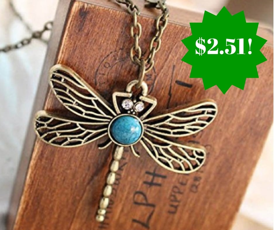Amazon: Classic Vintage Bronze Dragonfly Necklace Only $2.51 Shipped
