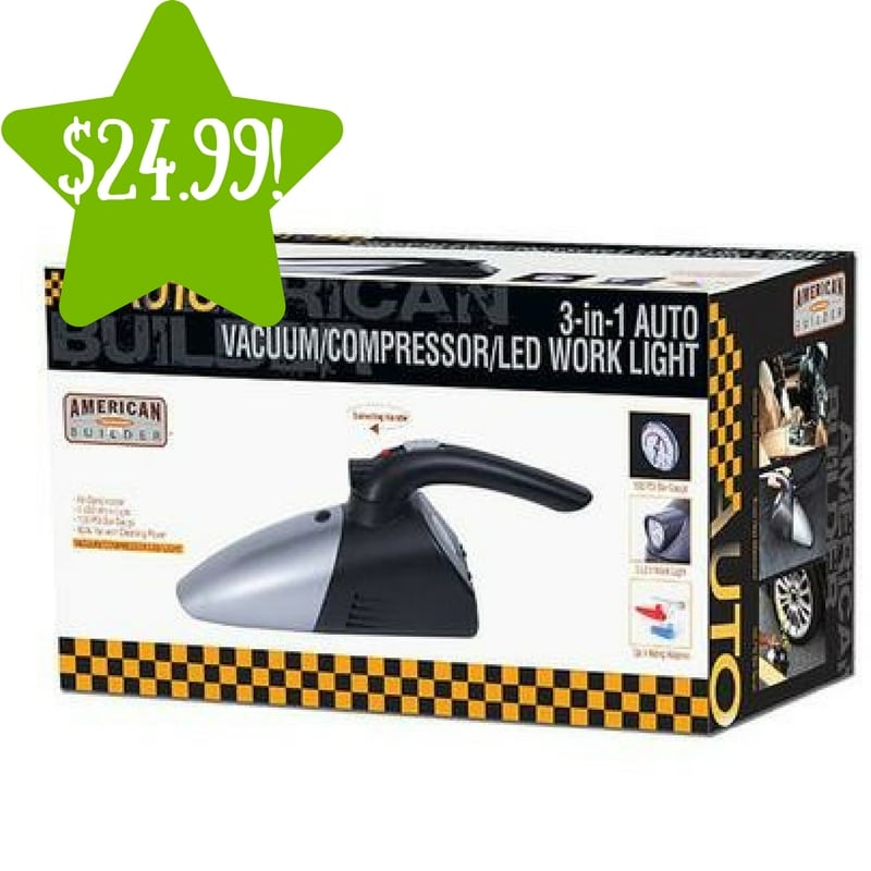 Sears: 3-in-1 Auto Air Compressor, Vacuum Cleaner & LED