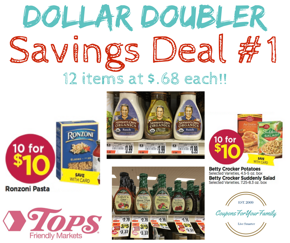Tops Markets Dollar Doubler Deal #1 – Pasta Salad Stockup- 12 items only $.68 each!