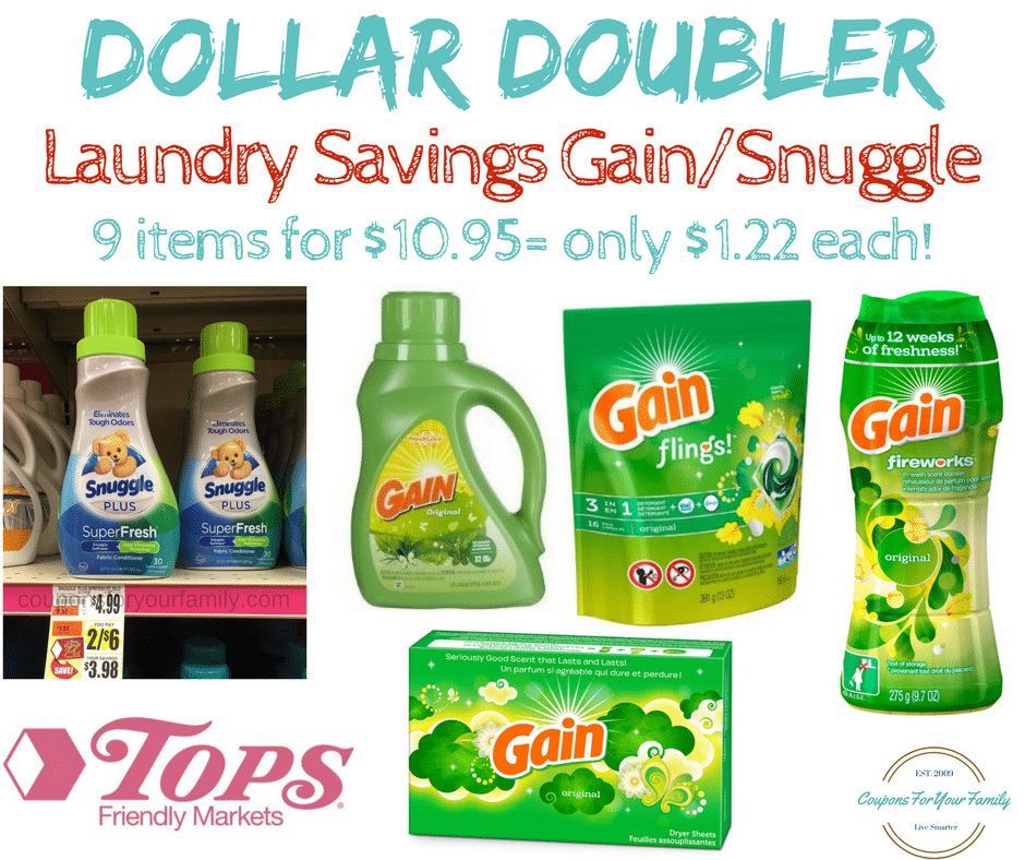 Tops Markets Dollar Doubler Deal #3: Get 9 Gain & Snuggle Products for $10.95 = only $1.22 each!!