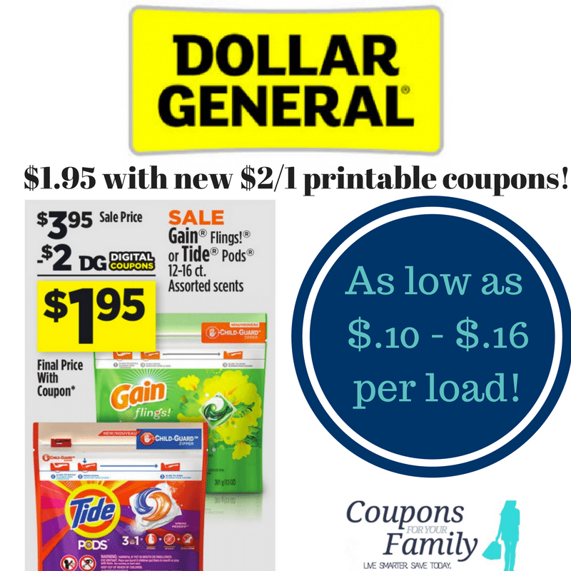 Dollar General Tide Pods/Gain Flings only $1.95 with new coupon- print now! As low as $.10 per load Saturday or $.16 now!