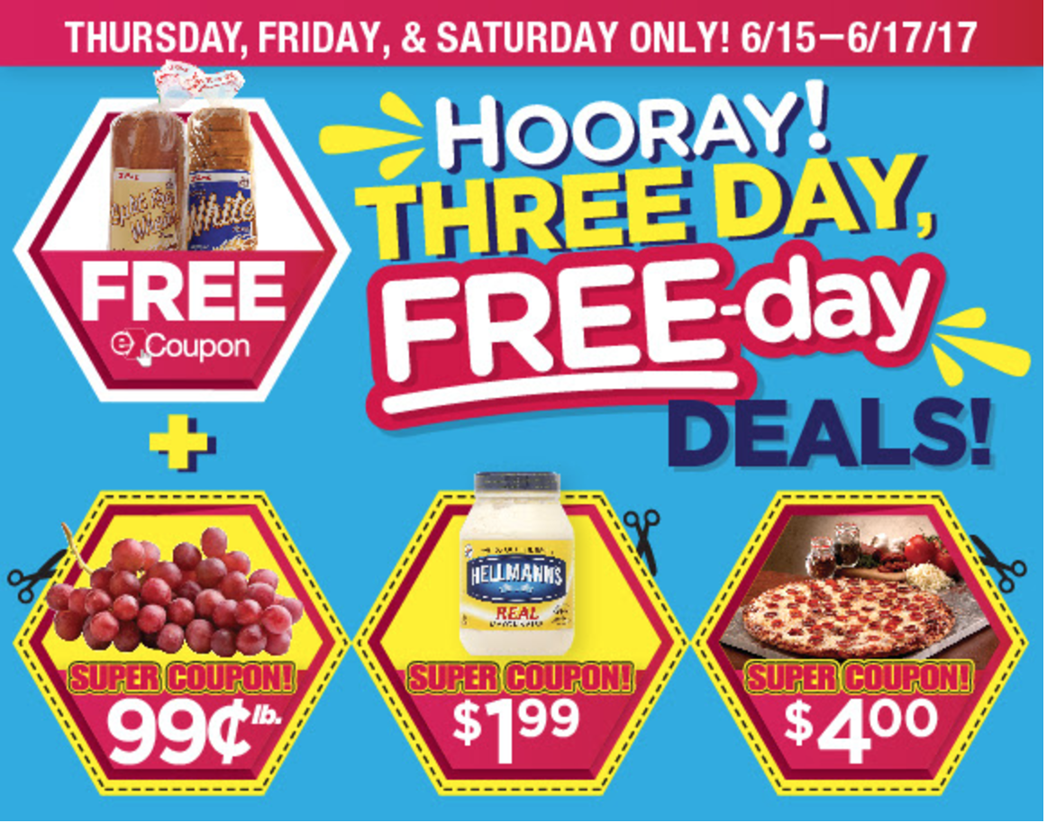 Tops E Coupons: This weeks Three Day Free-Day deals-> Free Bread, $.99 Grapes, $1.99 Hellmanns, $4.00 Pizza!!