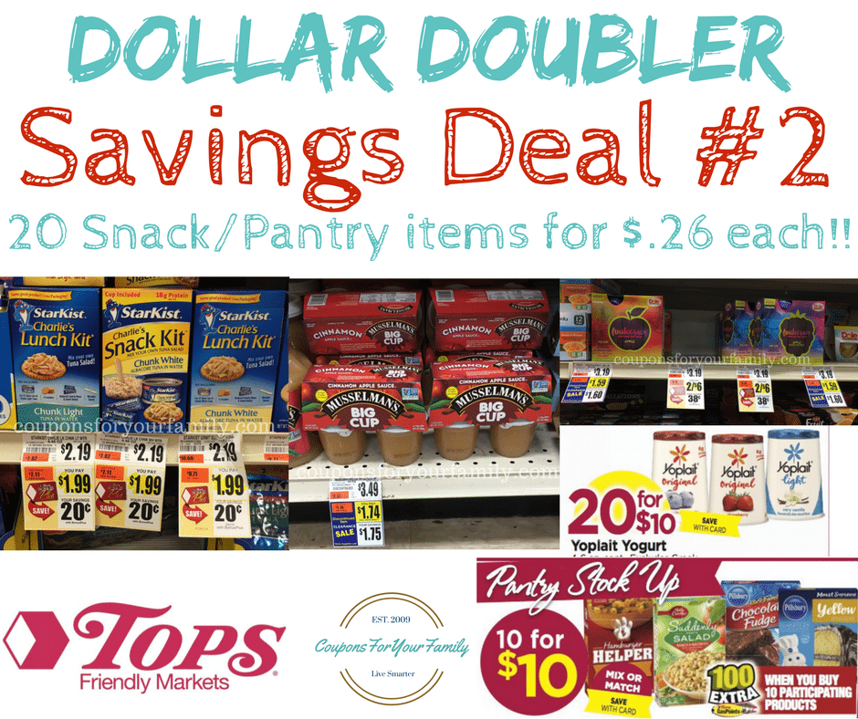 Tops Markets Dollar Doubler Deal #2 – Snack/Pantry Stockup- 20 items only $.26 each!!