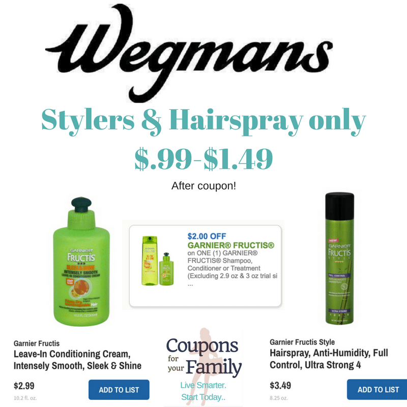Wegmans Garnier Stylers & Hairspray only $.99-$1.49 after coupon!
