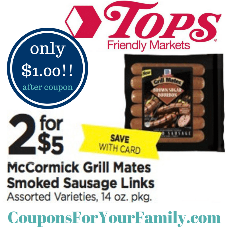 Tops Markets McCormick Grill Mates only $1~~hurry and print coupon!
