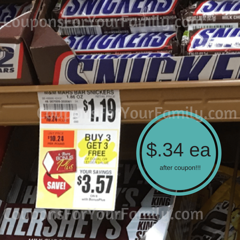 Snickers Bars only $.34 each at Tops Markets thru Saturday~~ print coupon NOW!