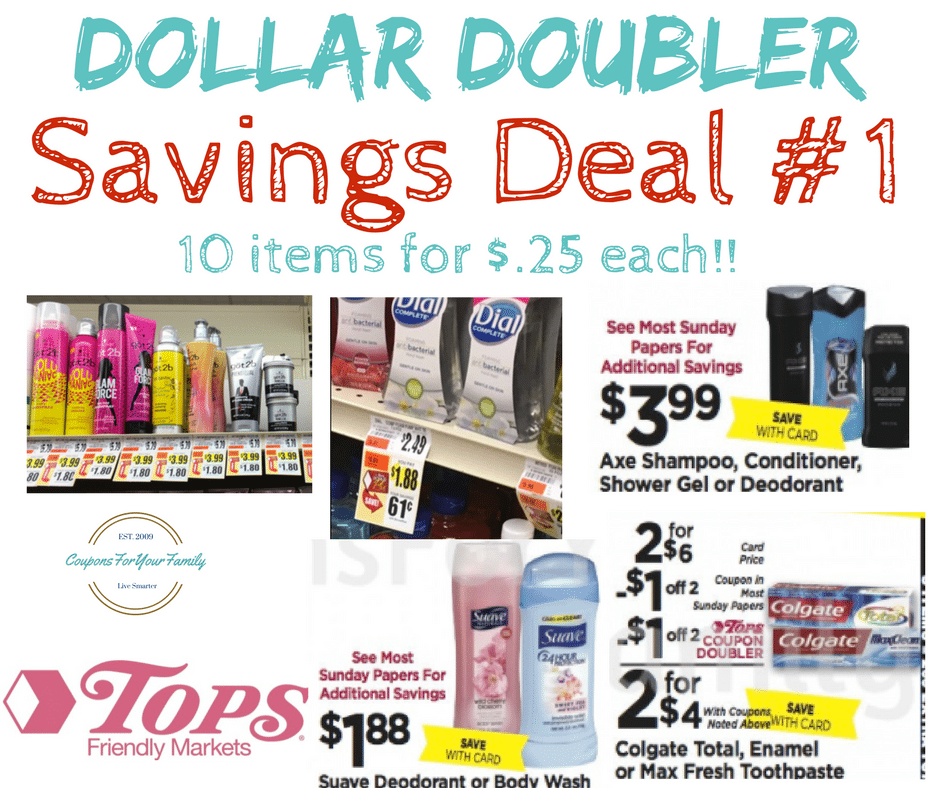 Tops Markets Dollar Doubler Deal #1 – Health & Beauty Stockup- 10 items only $.25 each!!! {print $2/$10 Tops HBC coupon too!}