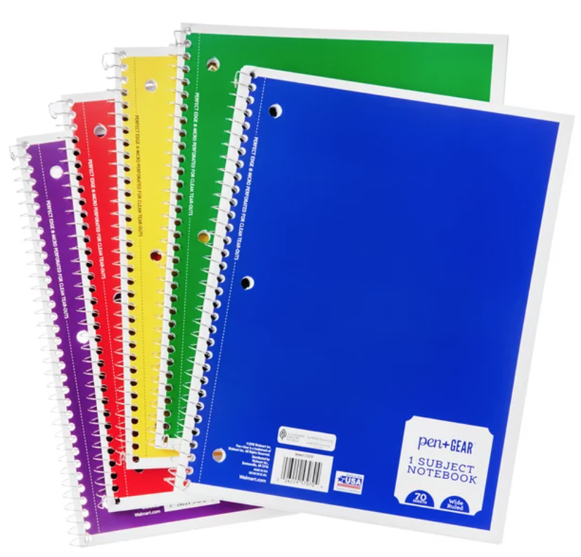 1 subject Spiral notebooks