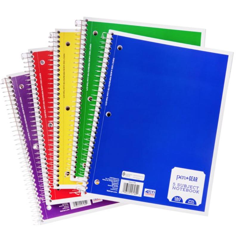 5 subject spiral notebooks
