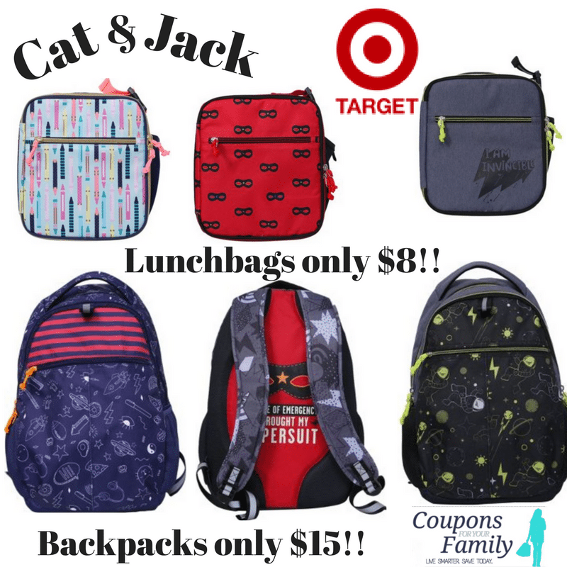 Back to School Deals: Target's Cat and Jack Lunchbags only $8 and Backpacks $15!!