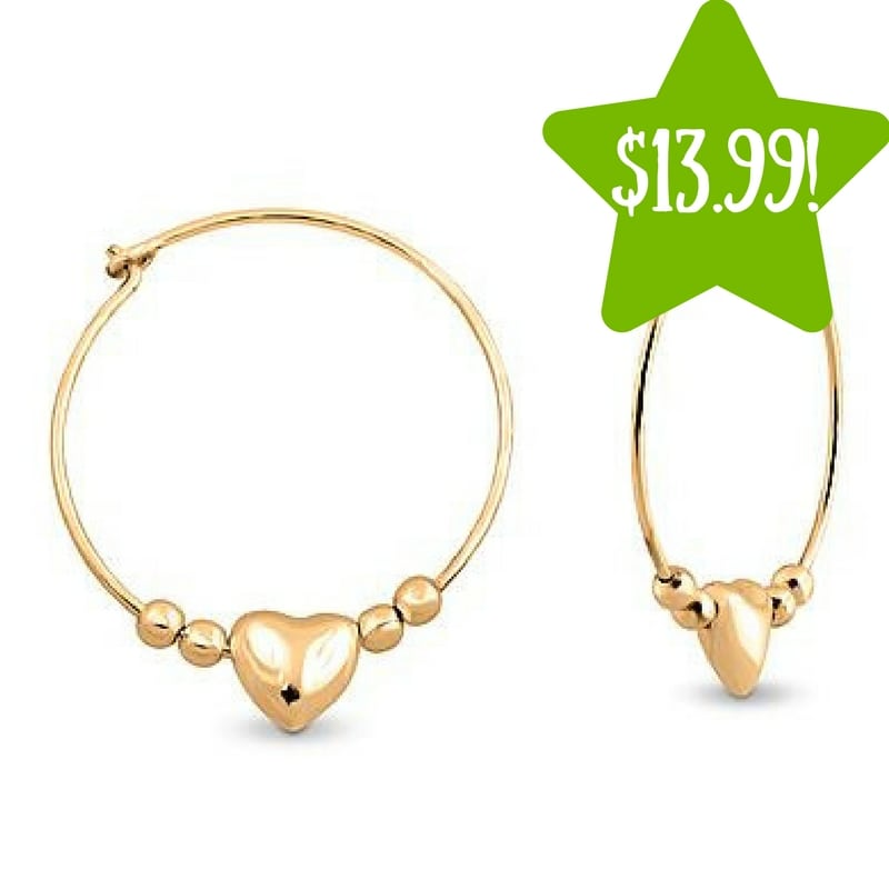 Kmart: Gold Plated Heart Bead Hoop Earrings Only $13.99 (Reg. $60, Today Only)