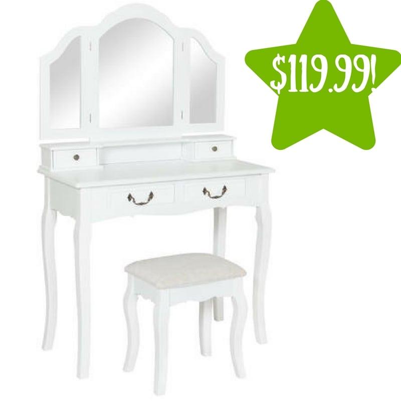 sears tri mirror vanity table set only reg 300. Black Bedroom Furniture Sets. Home Design Ideas