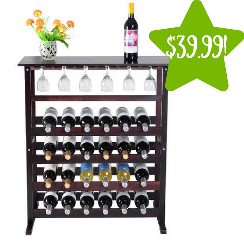 Sears: 24 Bottle Wood Wine Rack with Glass Hanger Only $39.99 (Reg. $80)