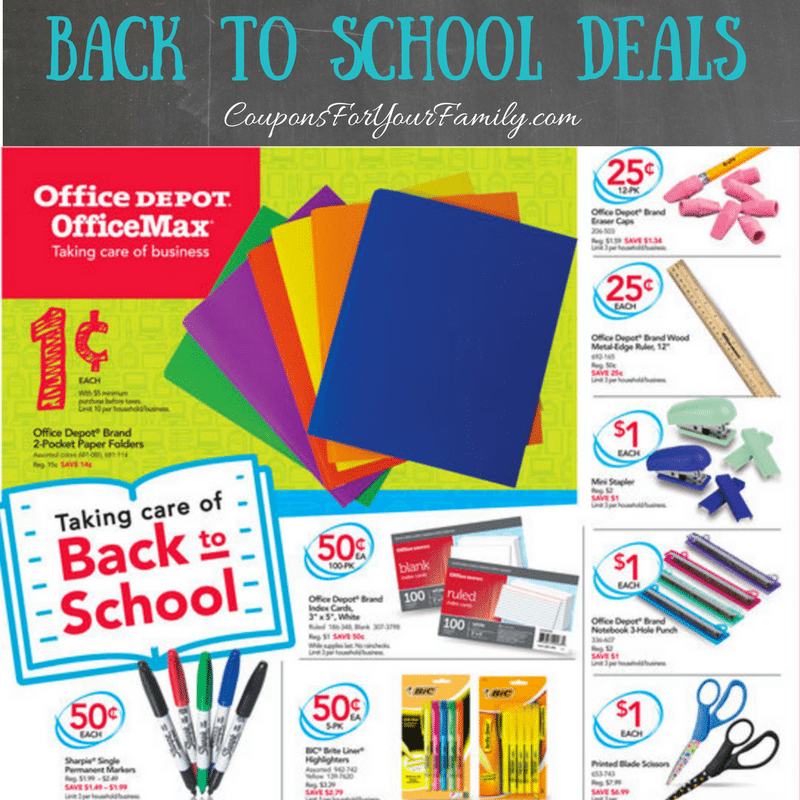 This weeks Office Depot Back to School Deals: $.01 Folders, $.50 Bic Highlighter 5 pk, PLUS Online 3 day Doorbusters 50% off!!