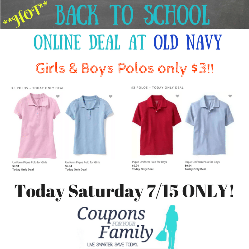 Kids Old Navy Polos only $3 online—TODAY Saturday 7/16 only! Get yours now!