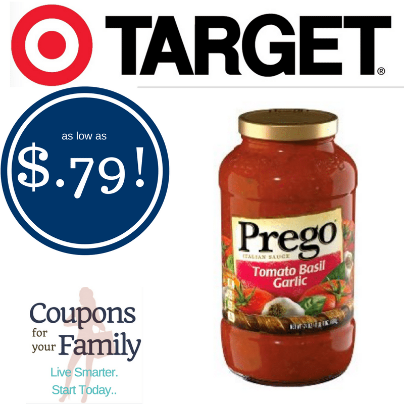 Target: Prego Sauce 24 oz only $.79-$.99 after coupon- print coupon now!!