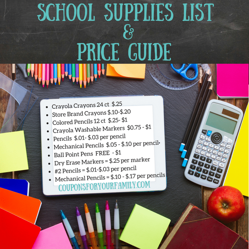 Use this Price Guide for your School Supplies List!!