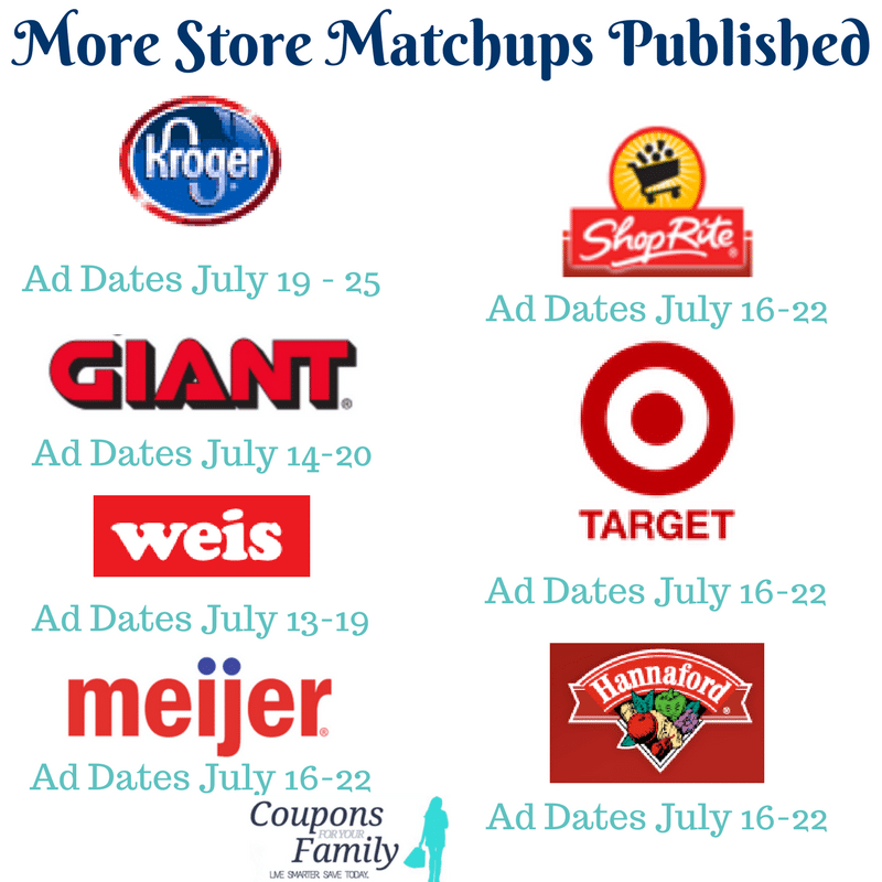 Sunday Coupon Matchups July 16 for Target, Kroger, ShopRite, Giant, Hannaford, Weis, and Meijer are live!!