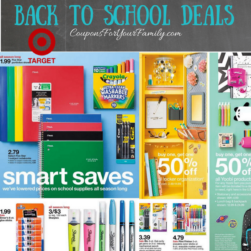 Target Back to School Deals July 23-29th: $1 Sharpies, B1G1 50% folders/binders and more!!
