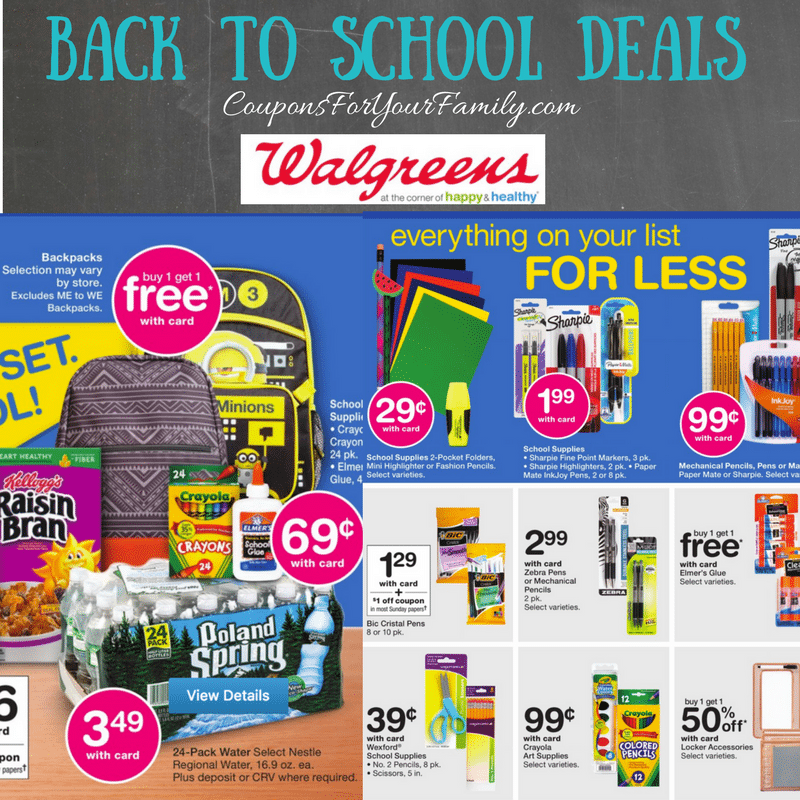 Walgreens Back to School Deals July 23 – 29: $.24 Pens & Pencils, $.29 Folders, $.39 Scissors & more