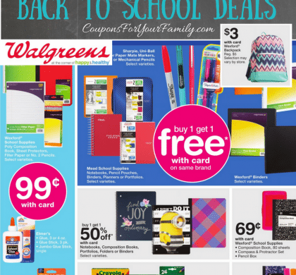 Walgreens Back to School Deals July 16-22: $.29 Index cards, $.69 Notebooks, $.99 4pk Dry Erase Markers, $3 Backpacks & more