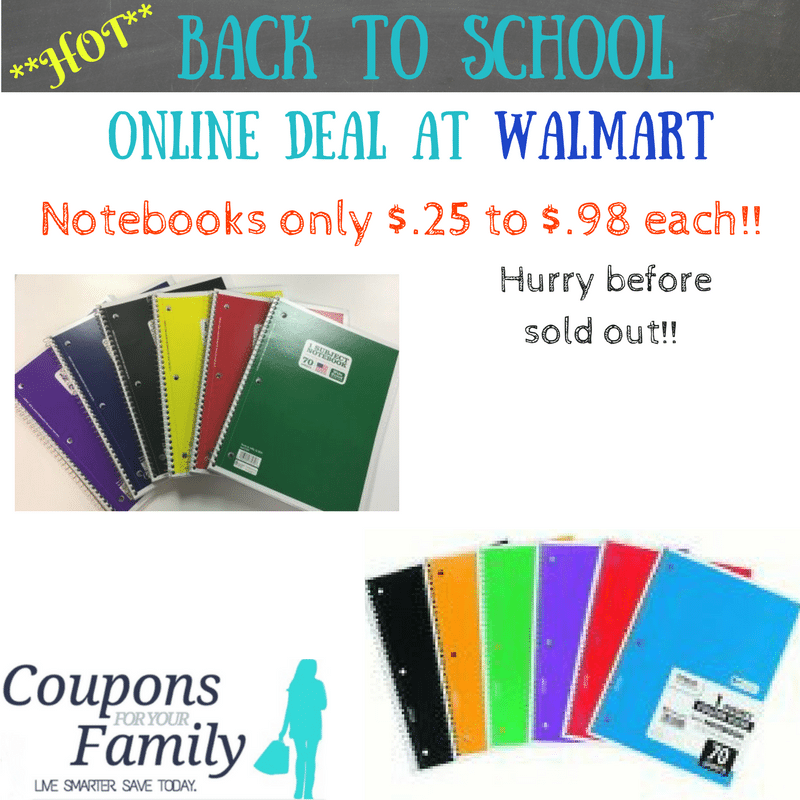 Walmart Back To School Notebooks only $.25!! Hurry & buy online before sold out!!