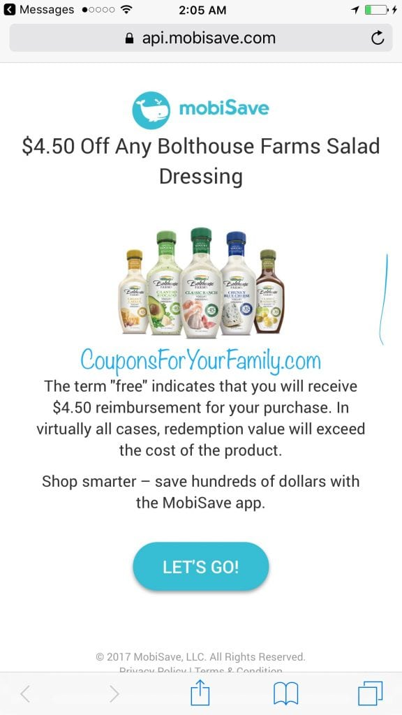 FREE Bolthouse Farms Salad Dressing