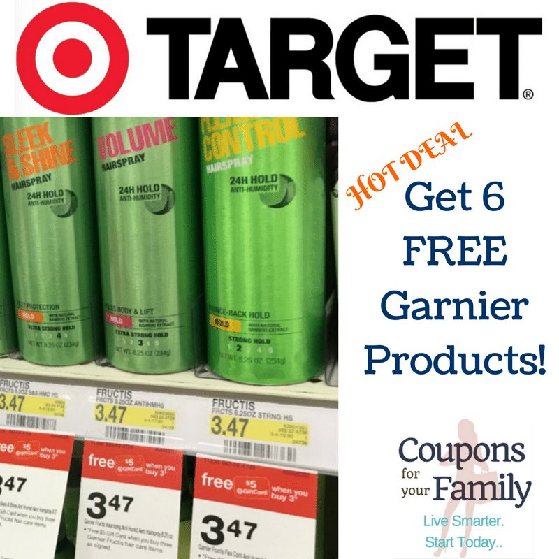 **HOT** Target Garnier Deal: Get 6 Hairsprays/Shampoo for FREE!!!