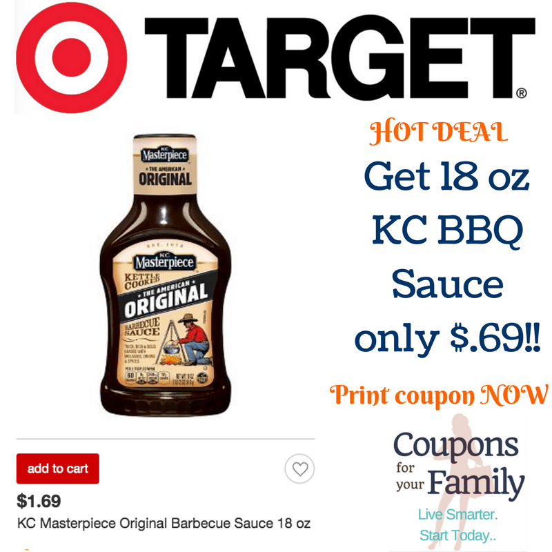 Get KC BBQ Sauce for only $.69 at Target ~~Hurry & print coupon!